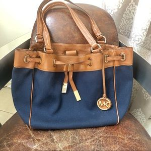 Michael Kors navy large canvas leather tote